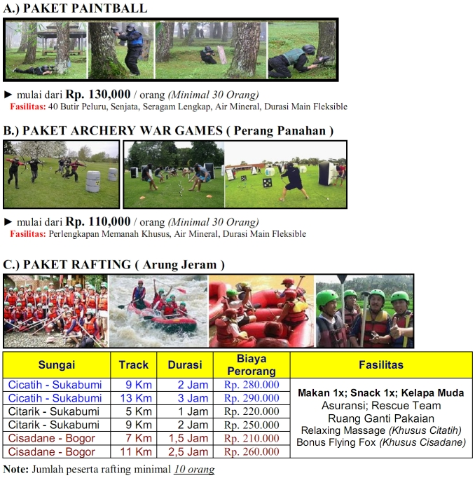 Harga Rafting, Paintball, Archery