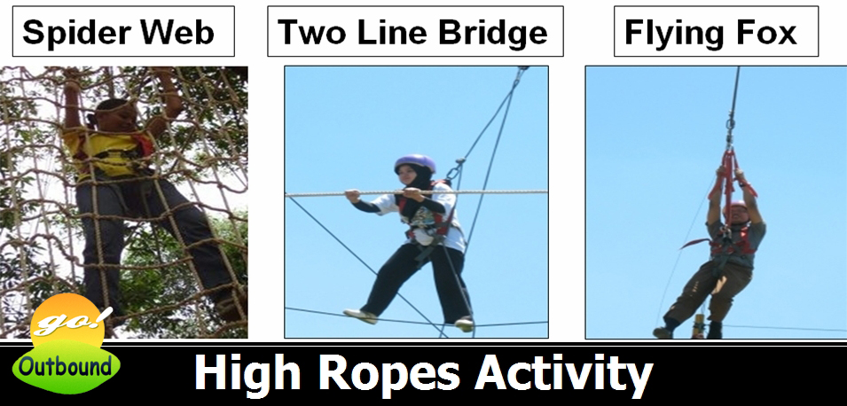 High Ropes Activity: Spider Web, Two Line Bridge dan Flying Fox