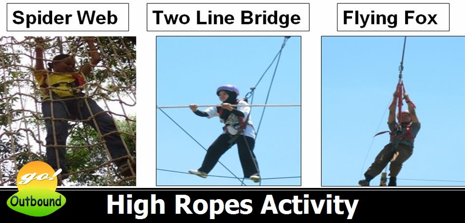 High Ropes Activity: Spider Web, Two Line Bridge dan Flying Fox