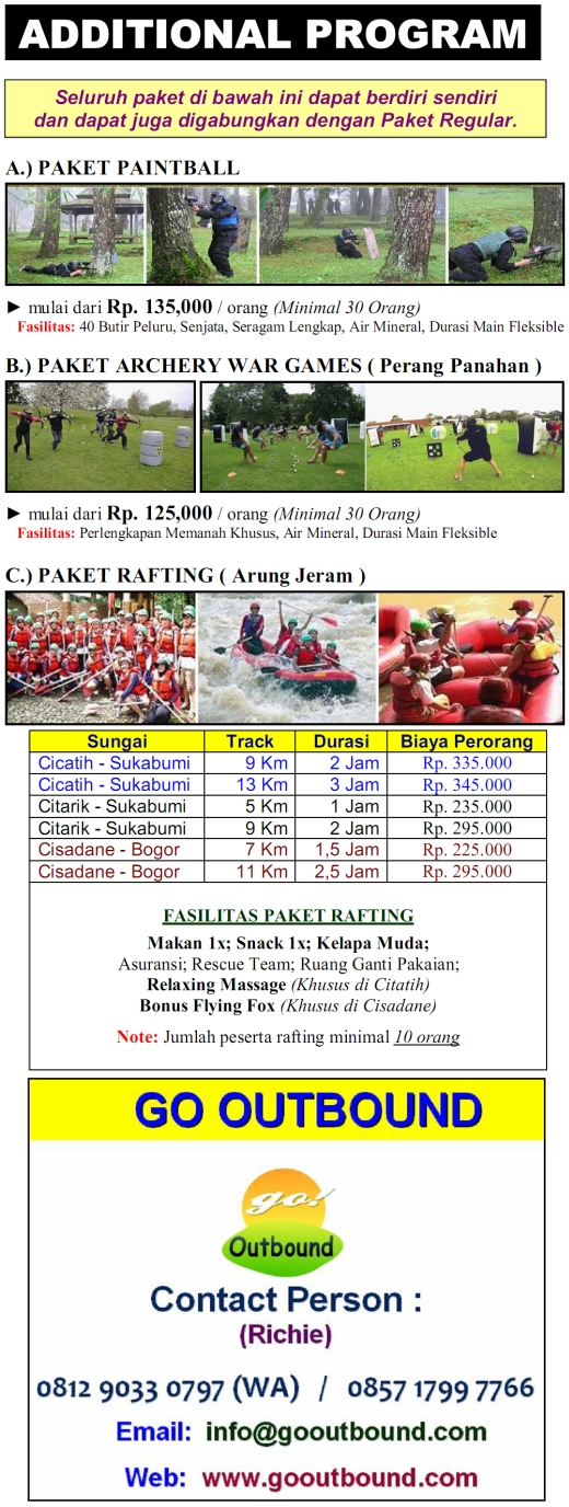 Paket Rafting (Arung Jeram), Paintball, Archery