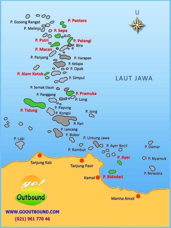 Peta Kepulauan Seribu: Pulau Alam Kotok, Ayer, Bidadari, Pantara, Putri, Sepa, Pelangi, Macan, Tidung, Pramuka. Tersedia Paket Wisata dan Outbound MURAH