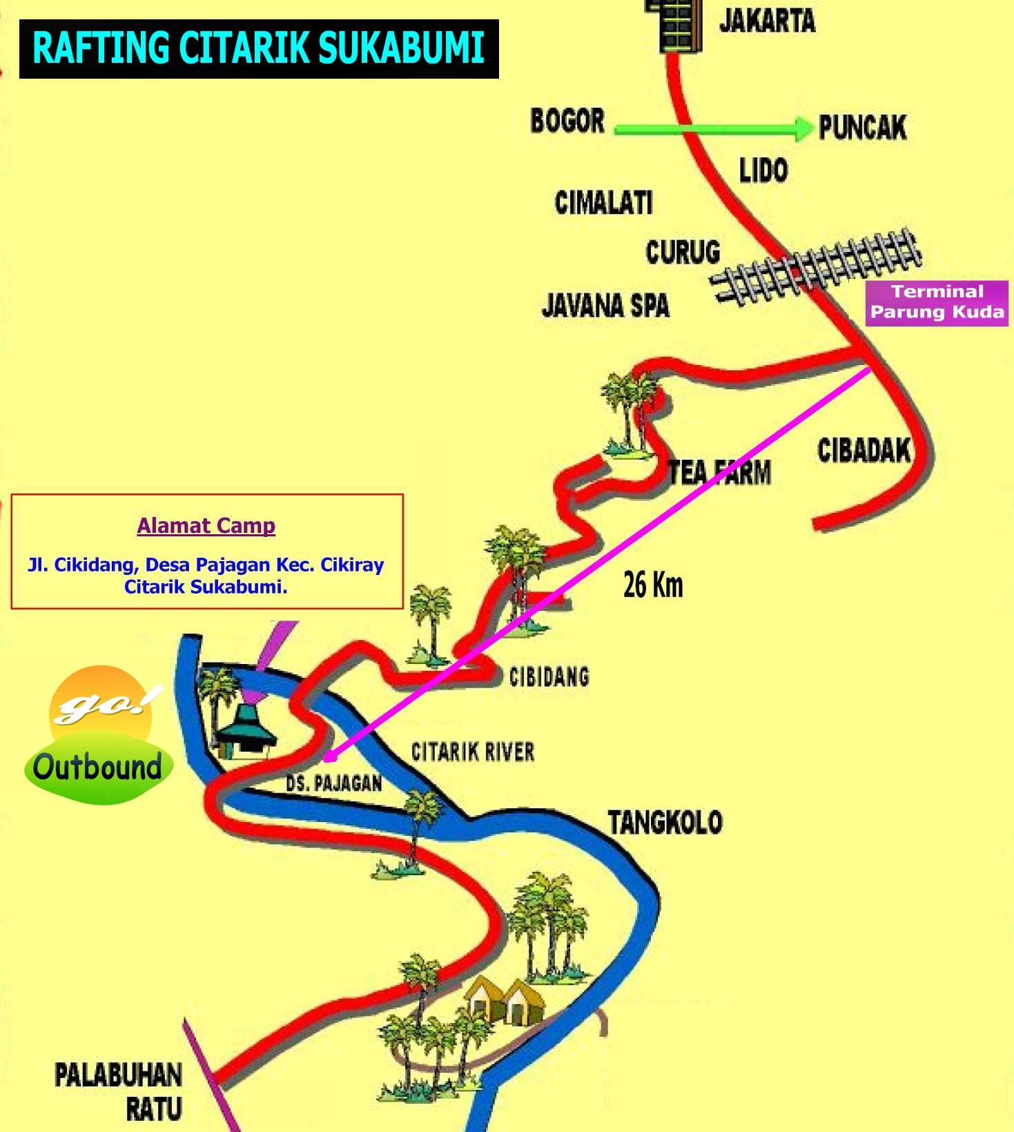 Peta Rafting Citarik Sukabumi