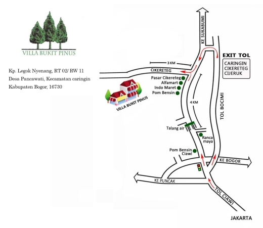 Peta Villa Bukit Pinus Bogor